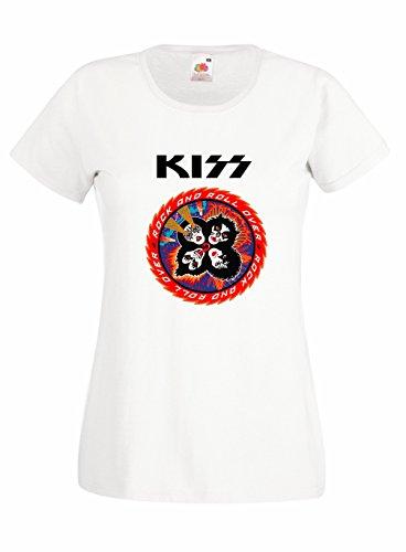 T-shirt Donna Kiss - Rock and Roll Over Maglietta 100% cotone LaMAGLIERIA,M, Bianco
