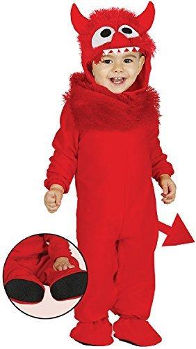 Imagen de bebé niña niño diablo rojo monster bonito halloween horror miedo carnaval disfraz 6 24 meses  6 12 months