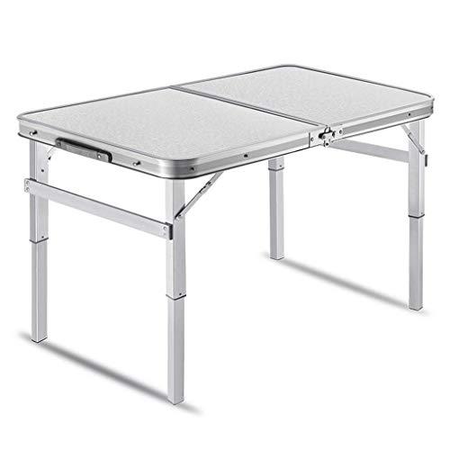 ZXW Table Pliante- Table Pliante en Aluminium portative extérieure, Table de Barbecue de Pique-Nique (Couleur : Silver, Taille : 90x60x34cm)
