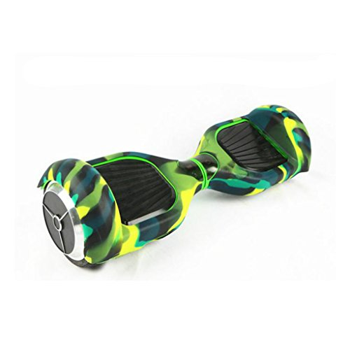 """Generic Silicone Top Bottom Full Cover Case Scratch Protector for 6.5"""" Self Balancing Electric Scooter Hoverboard - green camo"""