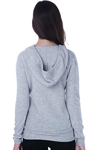 100% Kaschmir V-Ausschnitt Kordelzug Hoodie Pullover für Frauen - von CASHMERE 4 U (Large, Argent (Garu)) - 3