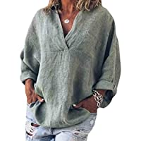 GRMO Women's Cotton Linen Solid Color Loose Fit V Neck Plus Size Long Sleeve Shirt Blouse Top Green 5XL