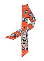 Bigood Zebra Bag Handbag Handle Twilly Ribbon Riband Scarf Silk Headband Orange