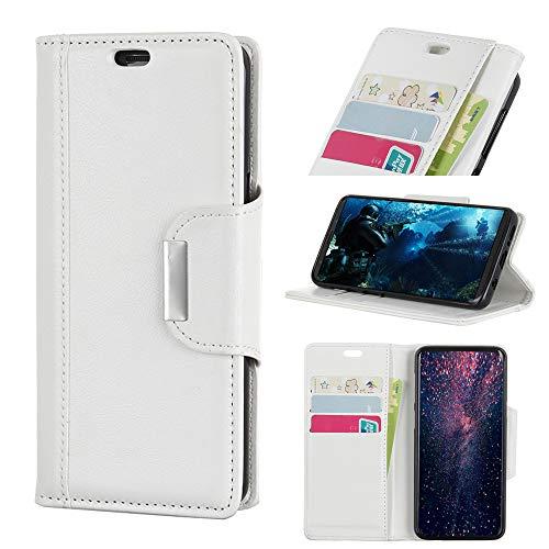 FindaGift Tasche für Huawei Honor View 20 V20 Leder Hülle, Flip Lederhülle Schutzhülle Handyhülle [Kartenfächern][Magnetverschluss] Stand Ständer Etui Karten Slot Schutzhülle Wallet Case (White)