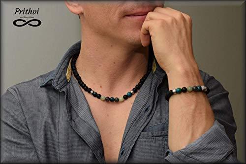 alskette + Armband für Männer - Lava Stein (8mm), Amazonit (8mm), Labradorit (8mm), Jasper (8mm), Onyx (8mm), Chrysocol ()