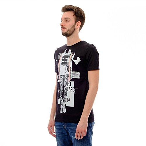 Antony Morato Herren T-Shirt Front-Print Foto-Print Schwarz - Schwarz