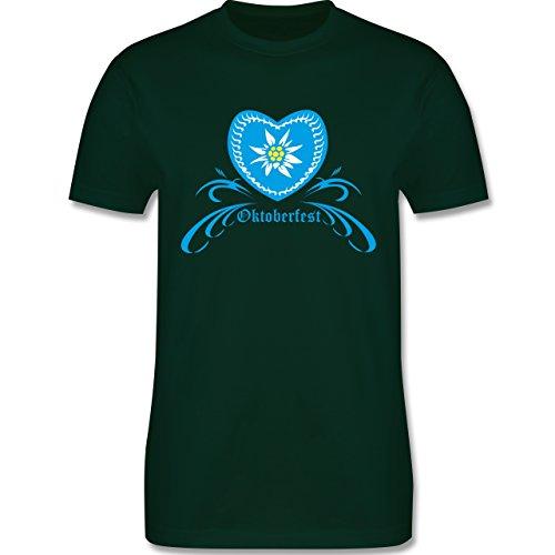 Oktoberfest Herren - Oktoberfest - Herz mit Edelweiss - Herren Premium T-Shirt Dunkelgrün