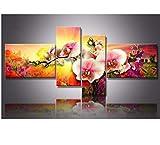 BWHome 4 Unidades 5D DIY Pintura Diamante Círculo Completo Diamante Rhinestones orquídea decoración para el hogar Pintura, 20x30CMx2 + 15x40CMx2