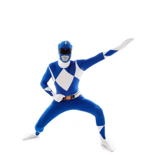 Morphsuits Costume Carnevale Morphsuit Ufficiale Power Ranger Blu supereroe anni 90 unisex Extra Large