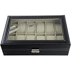 Mayfield Plaza 12 Grid Black Faux Leather Watch Box with Lock