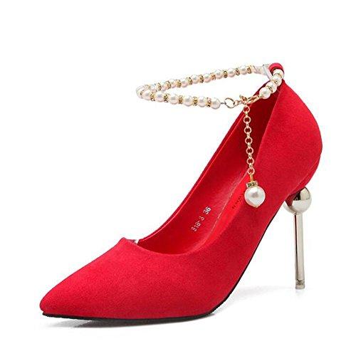 L@YC Scarpe Con Tacco alto Delle Donne Punte a Taglio Con Le Scarpe Da Sposa In Fibbia Scarpe a Bocca Liscia In Rilievo Red