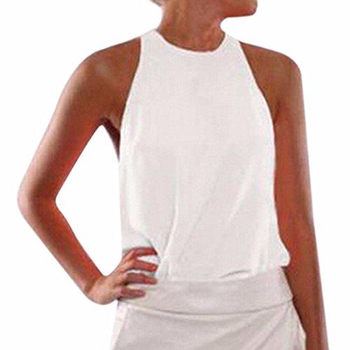Femmes Sexy Sans Manches Bonbons Couleur Plage Ete Veste Chemise Tops ¨¤ Manches Courtes white