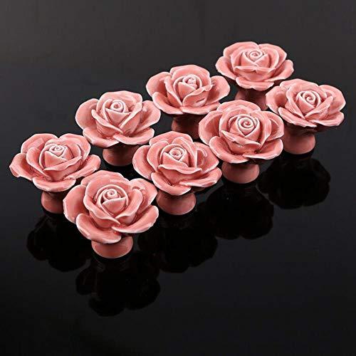 Rosa rose keramik knöpfe küchenschrank schublade zieht möbelgriff -