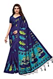 Anni Designer Indian Women's Kalamkari Silk Festive Wear Saree with Blouse Piece (Navy Blue)