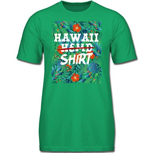 Karneval & Fasching Kinder - Hawaii Hemd Shirt - 140 (9-11 Jahre) - Grün - F130K - Jungen Kinder T-Shirt (Kostüm Hawaii Jungen)