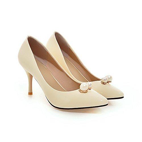 VogueZone009 Femme Stylet Couleur Unie Tire Fermeture D'Orteil Pointu Chaussures Légeres Beige