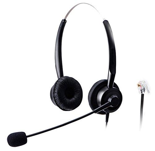 Wantek Telefon Headset Wired mit Flexible Noise Cancelling Mikrofon für Ascom Audioline Gigaset Aastra Adtran BT Alcatel Lucent Avaya Interquartz Hybrex Ulytel(220P002A)