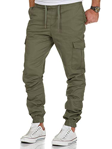 Amaci&Sons Herren Stretch Jogger Cargo Chino Jeans Hose 7006 Olive W32