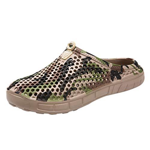 Dorical Hausschuh Unisex-Erwachsene Sandale Flip-Flops Sandalen Outdoor Pantoffeln Sommerschuhe Slippers Loch Mesh Herren Damen Sandaletten Badesandalen Mode Atmungsaktiv Strandschuhe(Braun,45 EU)