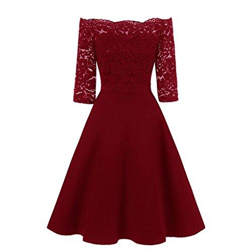 Jaminy Women New Vintage Lace Patchwork Off Shoulder Cocktail Party Retro Swing Dress Kleid...