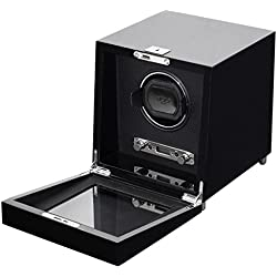 Wolf Savoy Single 2.7 Automated Mechanical Lockable Watch Winder - Piano Black Veneer Exterior