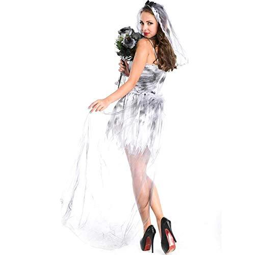 Braut Sexy Kostüm Gespenstische - GWNJSSX Halloween Karneval Kostüm,Frauen Weiß Braut Kostüm Größe Large,Sexy Böse Damen Cosplay Kostümparty Kleid and Schleier,S