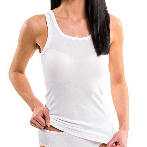 HERMKO 1325 Cannottiera lunga da donna in colori alla moda, 100% coton, top anche in taglie extra large - confezione da 3 pezzi marino