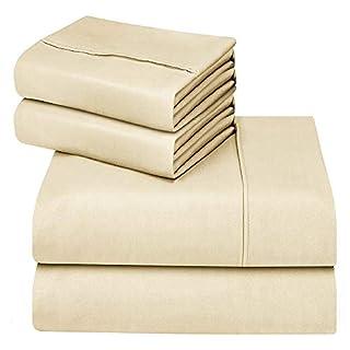Oakome Parure de Lit 4 Pièces Drap Housse-Draps Plat - 2 Taies d'oreiller 1800 Thread Count Souple avec 100% Polyester Kit de Literie Hypoallergénique (Cornsilk, 200 * 245-140 * 190-50 * 75cm)