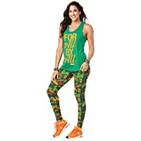 Zumba Women's Graphic Design Loose Breathable Workout Tank Top, Groovin' Green, Small