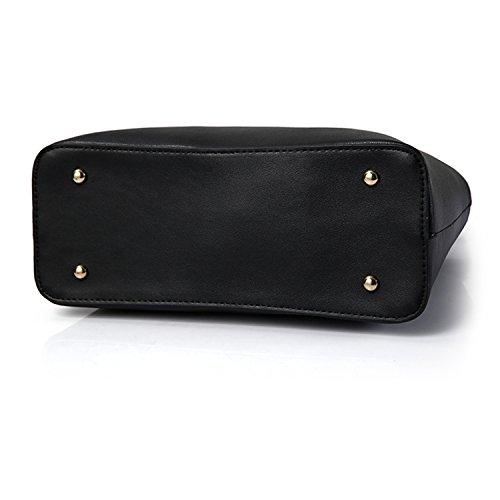 """Young & Ming - PU Pell Borse Donna Borse a spalla Borsa Handbag Borse a tracolla """"V"""" Logo Blu"""