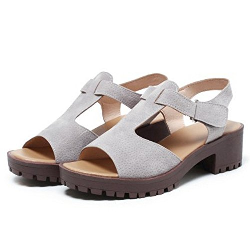 TAOFFEN Damen Mode Chunky Heel T-Spange Slingback Sandalen mit Klettband Grau