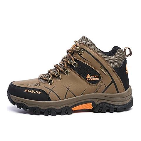 Coolgoing Chaussures d'alpinisme de grande taille Hommes Bottes de randonnée Hiker High Rise pour hommes Altitude Imperméables à l'usure Chaussures de randonnée pour hommes , Brown , 41