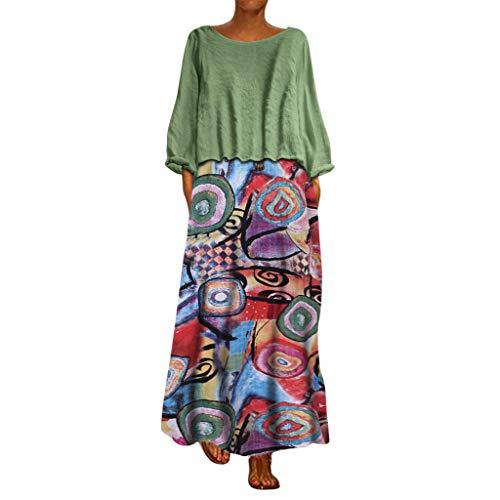 serliyLeinen Kleider Mode Damen Freizeitkleider Plus Size Sommerkleid Patchwork Blusenkleid Zweiteilige Oansatz Tuchkleid Bohemian Print Vintage - Coca Cola Kleid Kostüm