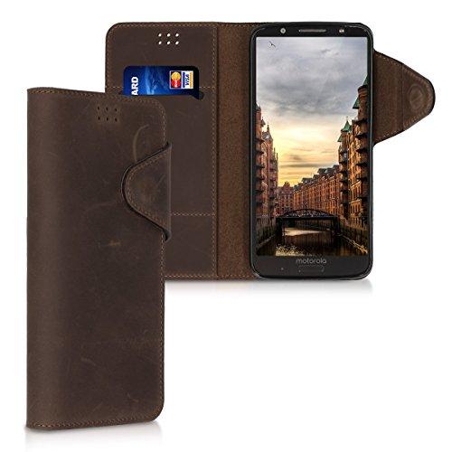 kalibri-Hlle-fr-Motorola-Moto-G6-Plus-Echtleder-Wallet-Case-Schutzhlle-mit-Fach-und-Stnder-in-Braun