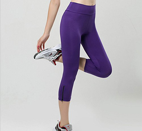 Hoverwings Yoga Leggings élastique stovepipe sept fermeture éclair design candy couleur sous-vêtements confortable fitness (S, Nior) Violet