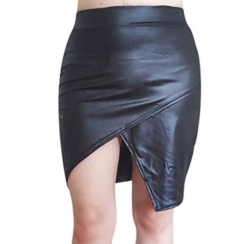 YueLove Damen Mini Wickelröcke Kunstleder Einfarbig Hohe Taille Split Hem Sexy Slim Fit Kurze Röcke Festliche Vielseitige Faltenrock