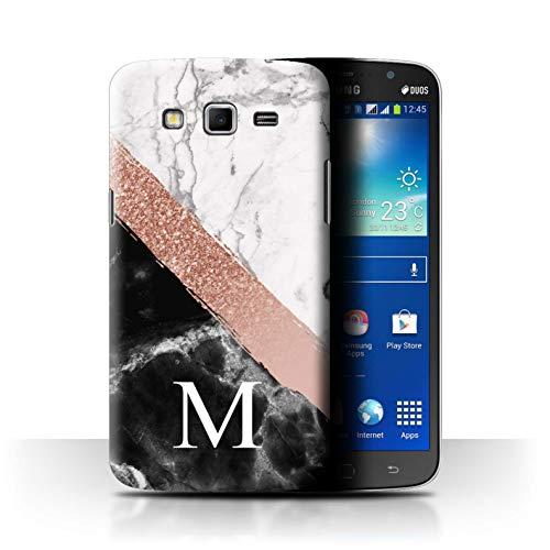 Stuff4® Personalisiert Individuell Roségold Glitter Marmor Hülle für Samsung Galaxy Mega 5.8 / Diagonales Monogramm Design/Initiale/Name/Text Schutzhülle/Case/Etui