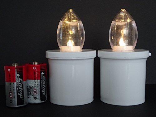 ♥ 2 STÜCK LED Grabkerzen 180 Tage Grablichter Weiss ↑10,7xØ6,0cm für Grableuchte Grablampe Grablaterne Laterne Grablicht Kerze Licht