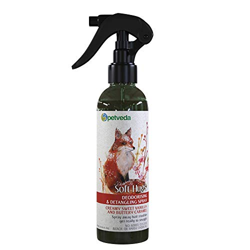 P E T V E D A Deodorant Spray for Dogs & Cats, Deodorizing Perfume Spray Long Lasting, Odor Remover, Detangle Mist with Vanilla Essential Oil, Alcohol Free, Sulphate & Paraben Free - 250 ml