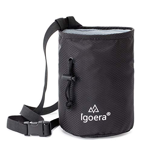 Igoera Premium Chalkbag, Magnesiabeutel (grau) | zum Klettern und Bouldern | Profiqualität | inkl. Gurt | Staubdicht, Color_map_Amazon:Schwarz