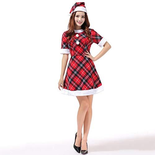 Kostüm Kleid Karierten - Olydmsky Weihnachtskostüm Damen,Weihnachten Kostüm rot Karierten Hut Set Kleid bar Bühnen-Kostüm, Uhr Kostüm