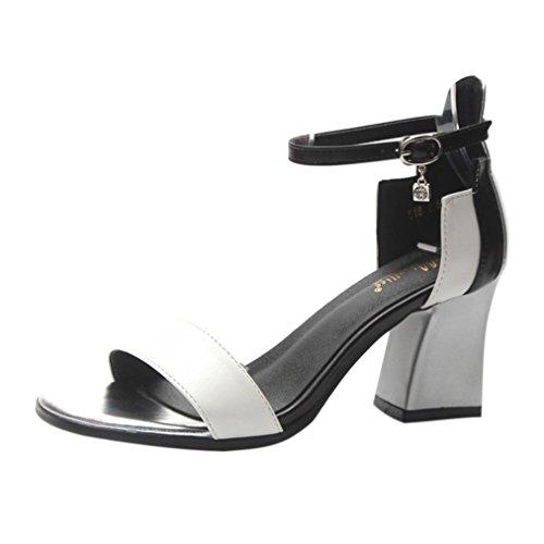 Italily donna sandali 2018 estate spesso con paillettes open toe fibbia word roma tacchi alti partito elegante 7 cm high-heel donne princess sandali party sexy sandali (38, bianco)