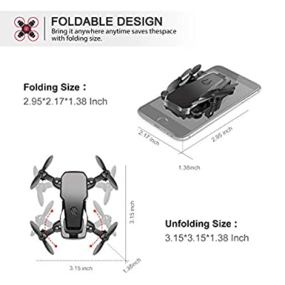 Conthfut Mini Quadcopter Drone, C16 RC Nano Quadcopter for Kids and Beginners - 2.4G 6-Axis with Altitude Hold Function, Headless Mode, 3D Flip and Speed Adjustment, Black