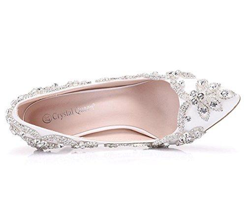 Femmes De Mariage Mariée Chaussures De Strass Cristal Strass Talons Hauts De Surface À Pointes Toe Pompes Danse Soirée De Fin D'année Blanc