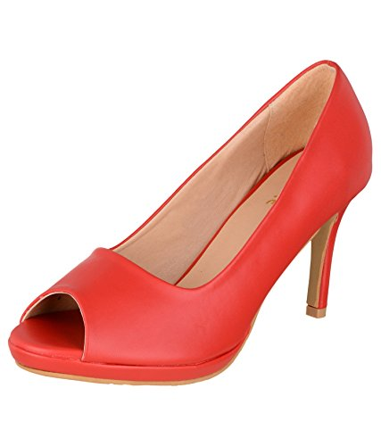 SHERRIF SHOES Slip-ON Stilettos (40,RED)