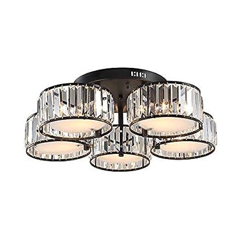 DPG Modern K9 Crystal Deckenleuchten Fixture Acryl Schatten 5 Glühbirnen E27 mit schwarzem Eisen Halter für Wohnzimmer Schlafzimmer (Birne nicht inbegriffen)