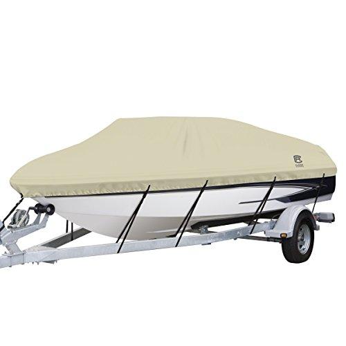 Classic Accessories DryGuard Waterproof Boat Cover, Tan, Fits 14' - 16' L x 90