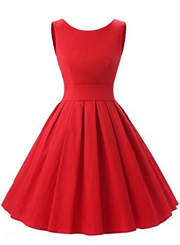 Dressystar Robe à 'Audrey Hepburn' Classique Vintage 1950S Style Rouge