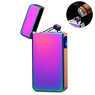 lcfun Electric Lighter,Windproof Flameless Double Arc Plasma Lighters USB Rechargeable Electronic Lighter Cigarette Candle Pipe Cigar Lighter from MvM
