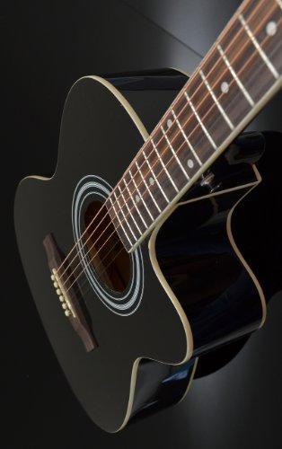 4/4 Chitarra elettroacustica tipo western in nero con pickup equalizzatore a 4 bande e kit di accessori con custodia imbottita
